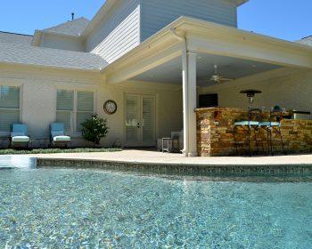 Residential backyard swimming pool