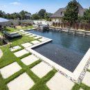 Walk-in garden swimming pool